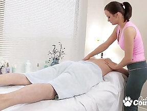 Horny little trollop fucks and sucks her massage client