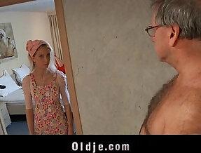 Horny maid fucks an oldman customer