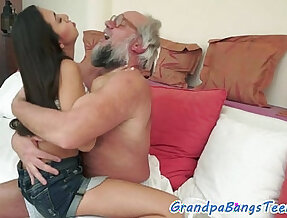 Teen gets ass fucked by geriatrics cock from behind