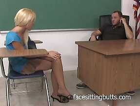 Seducing her teacher with her feet