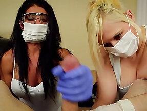 Pov double handjob alexis rain and fifi foxx dental assistants mask and gloves