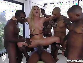Big boobs MILF gangbang interracial bukkake