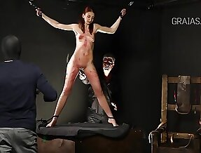 Slim lady is earn BDSM and likes to get whipped unmitigatedly hard, while required up tight