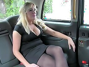 Busty blonde gets pussy fucked & creampied in ripped pantyhose in a cab