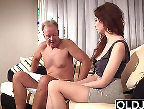 Old Young Porn Natural Teen Takes Grandpa cock In her pussy